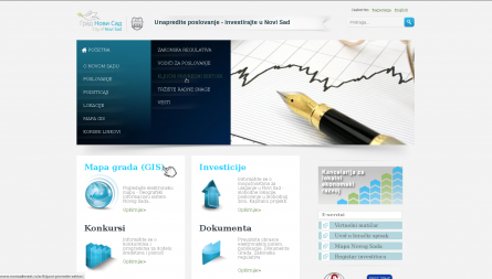 Web portal for investors with all relevant information built for the City of Novi Sad