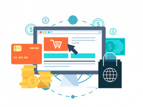 Graphic with computer monitor, shopping cart, credit card and shopping bag